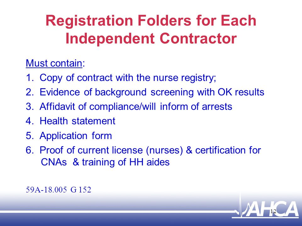 Registration Folders for Each Independent Contractor