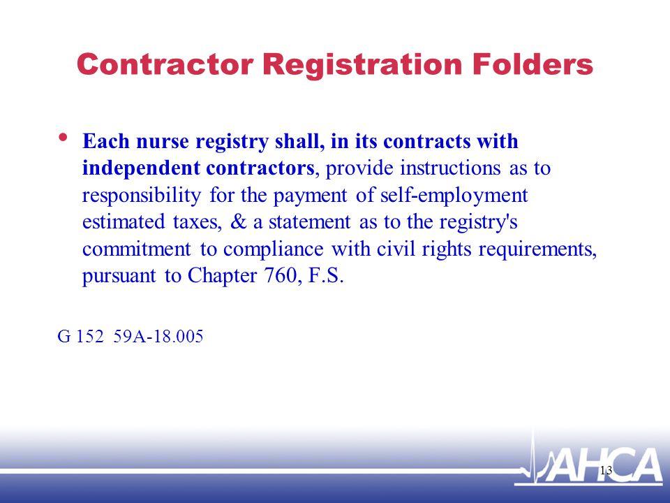 Contractor Registration Folders