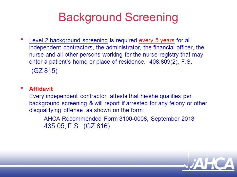Background Screening (GZ 815)