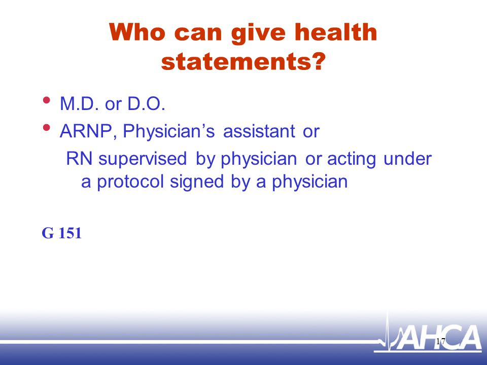 Who can give health statements