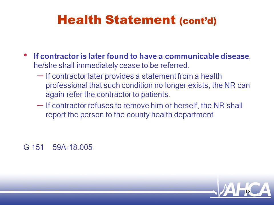 Health Statement (cont'd)