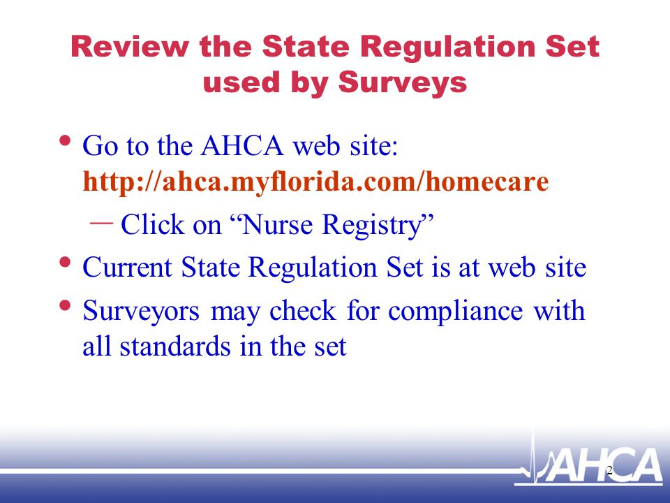 Review the State Regulation Set used by Surveys