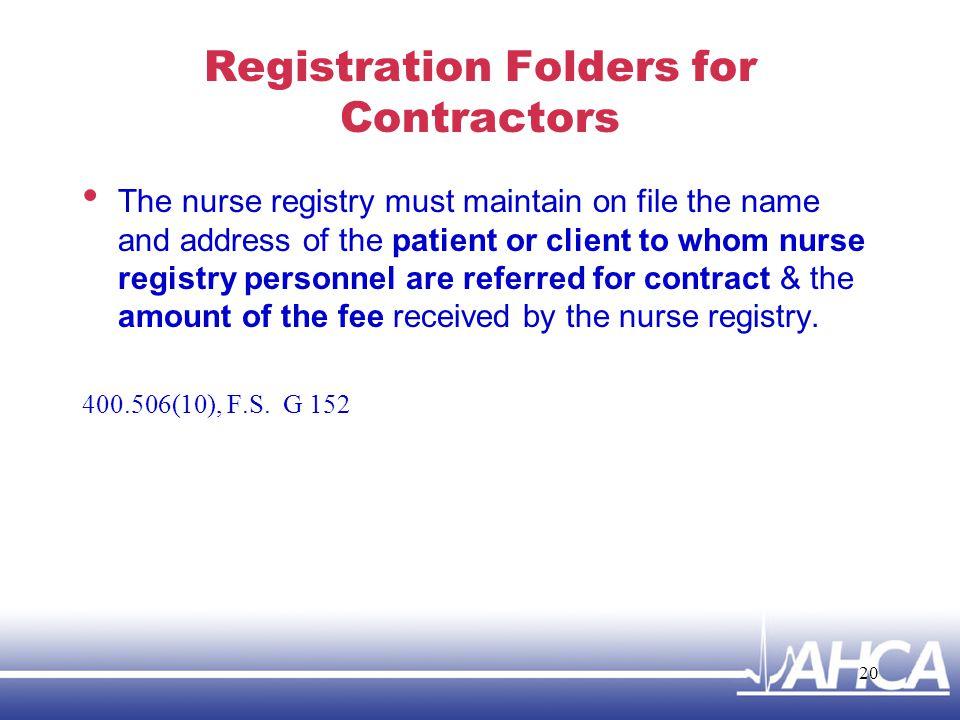 Registration Folders for Contractors