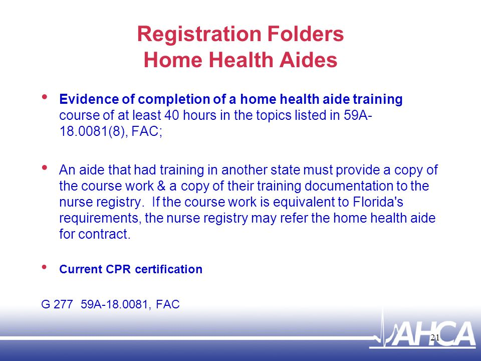 Registration Folders Home Health Aides