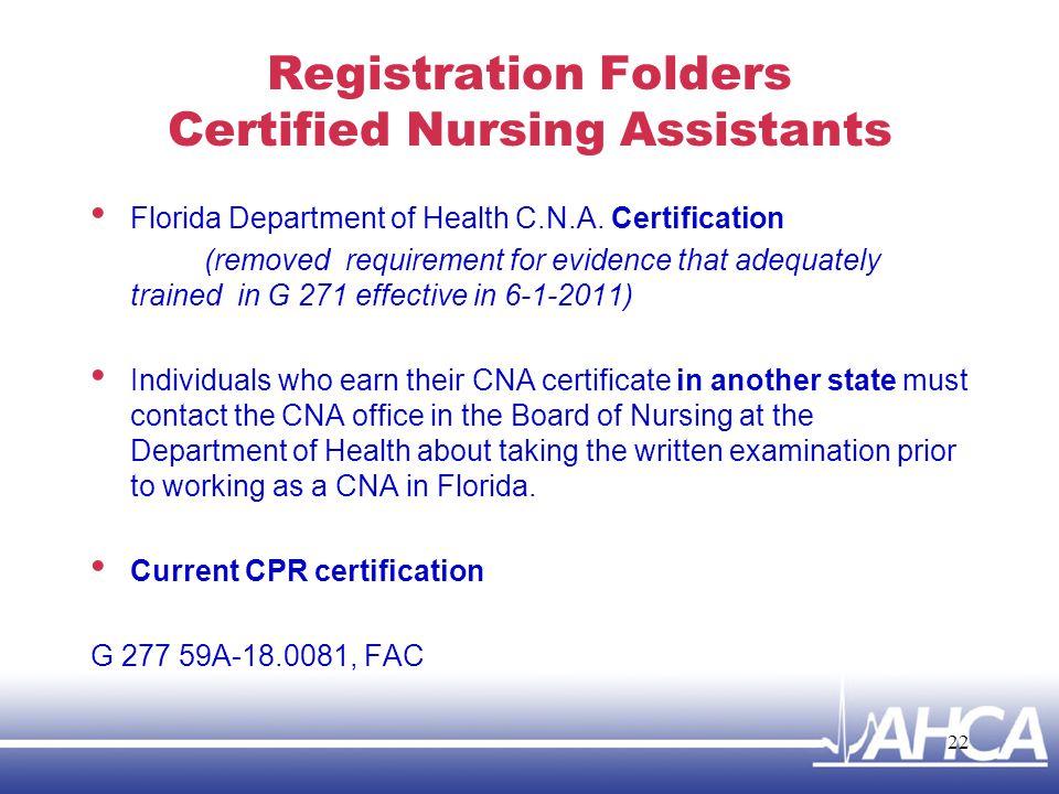 Registration Folders Certified Nursing Assistants
