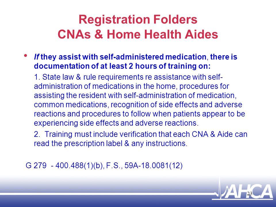 Registration Folders CNAs & Home Health Aides