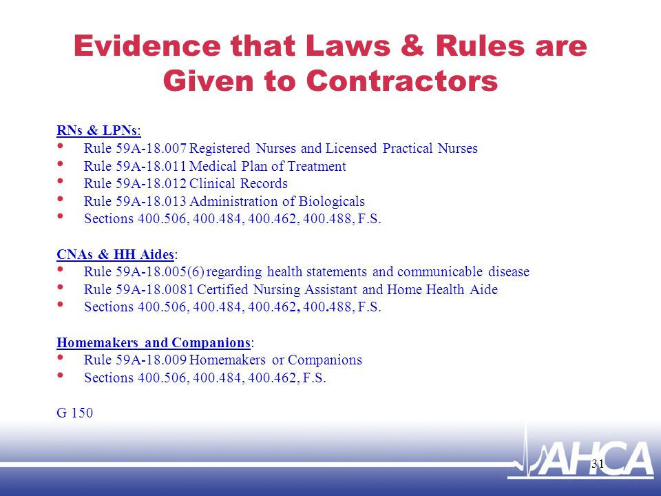 Evidence that Laws & Rules are Given to Contractors