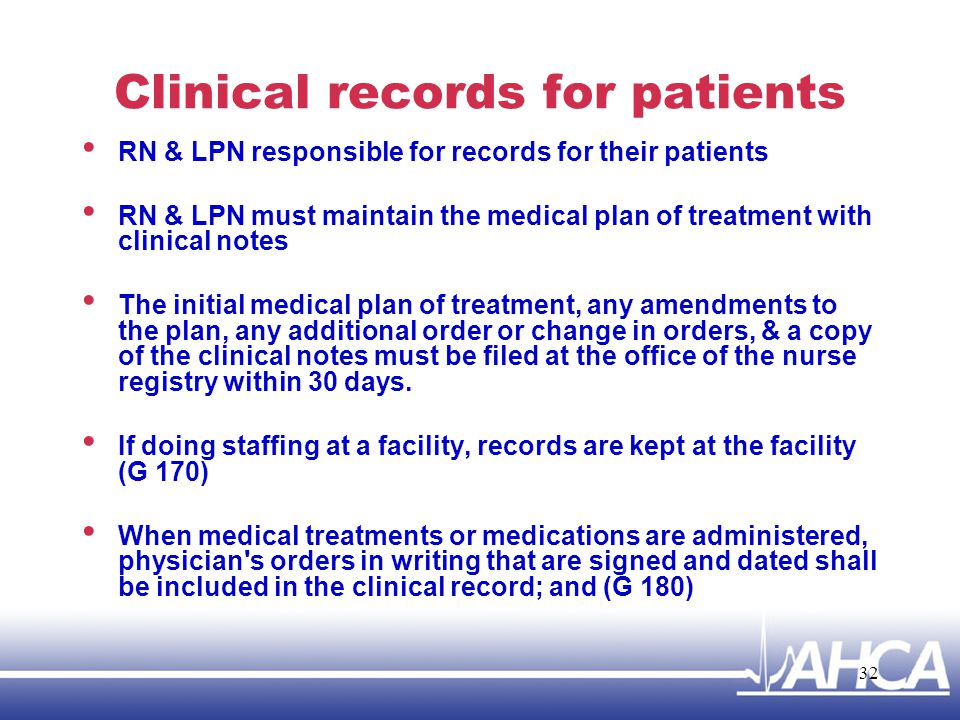 Clinical records for patients