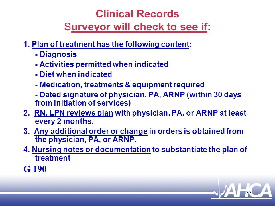 Clinical Records Surveyor will check to see if: