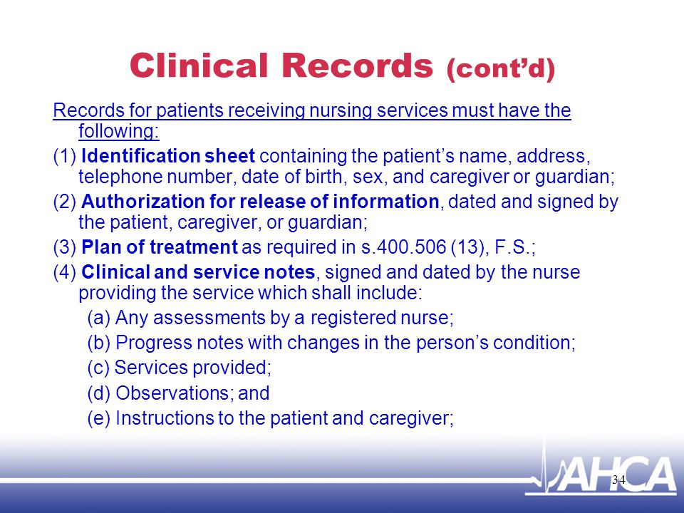 Clinical Records (cont'd)