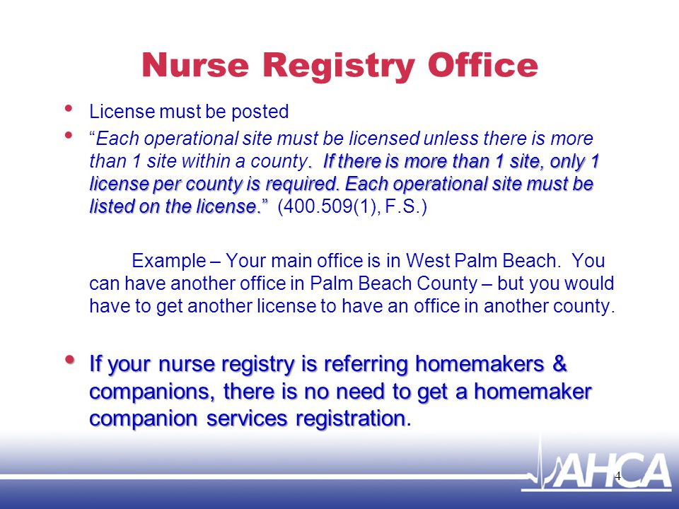 Nurse Registry Office License must be posted.