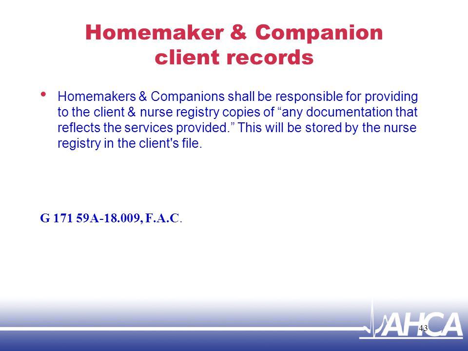 Homemaker & Companion client records