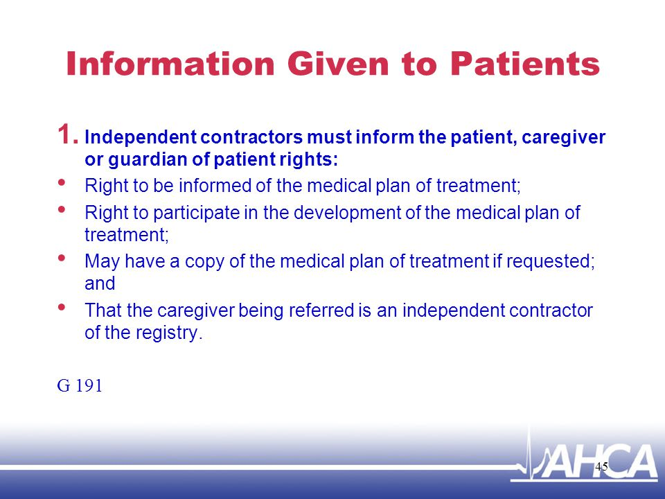 Information Given to Patients