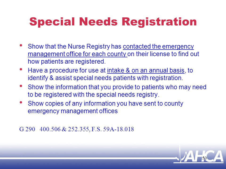Special Needs Registration