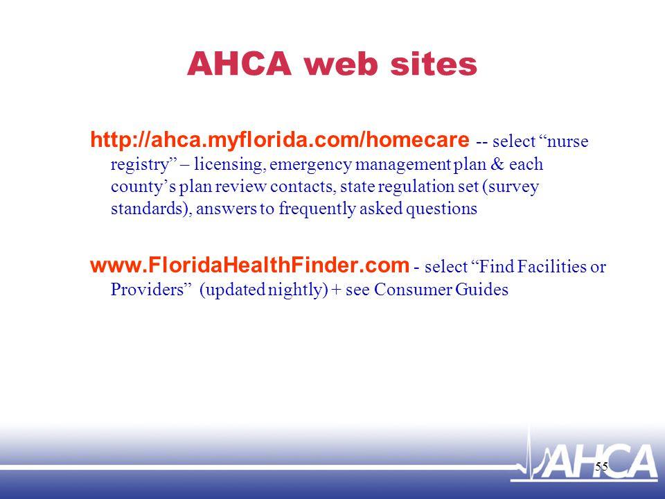 AHCA web sites