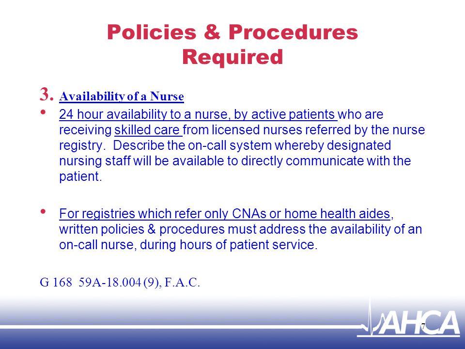 Policies & Procedures Required