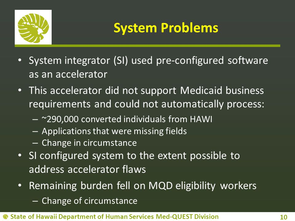 System Problems System integrator (SI) used pre-configured software as an accelerator.