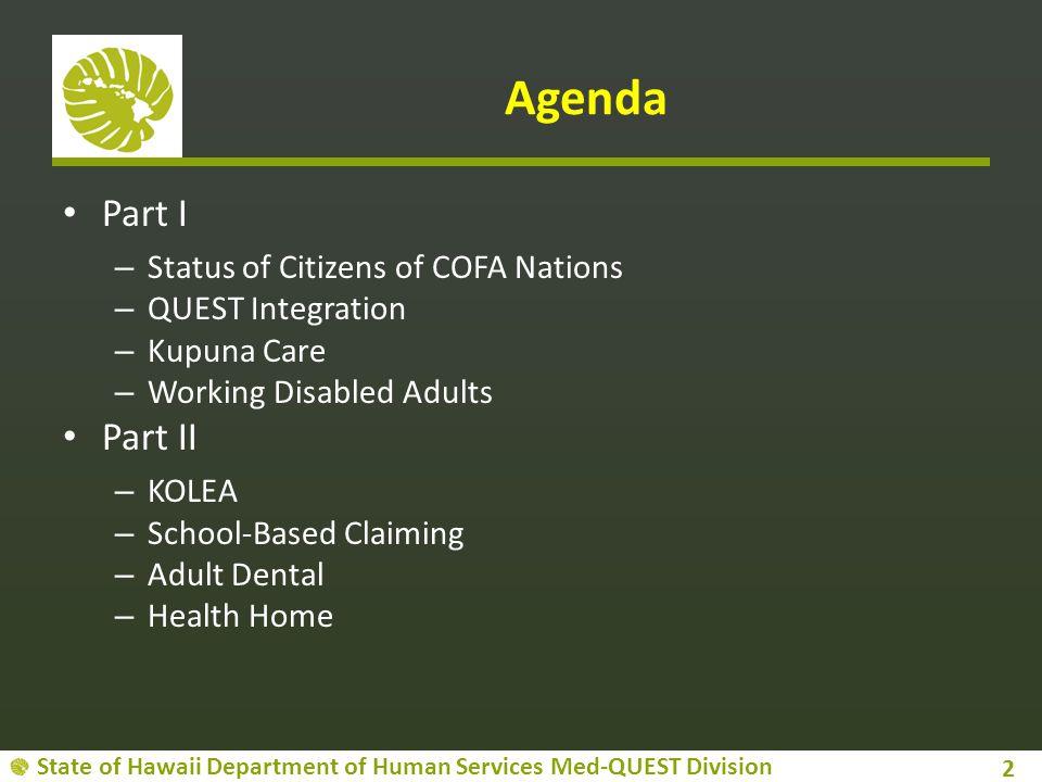 Agenda Part I Part II Status of Citizens of COFA Nations