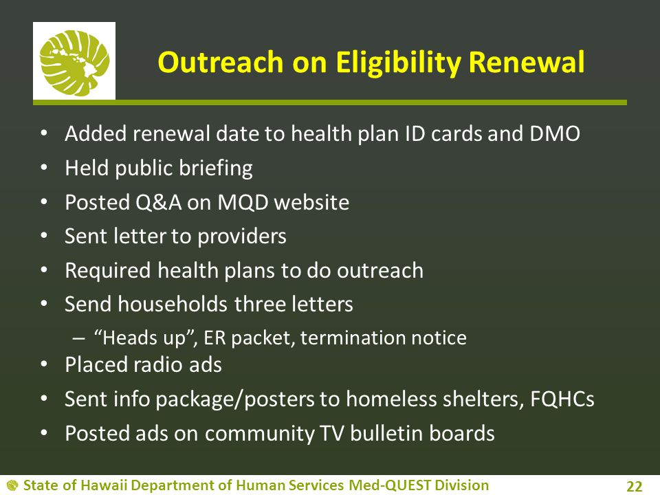Outreach on Eligibility Renewal