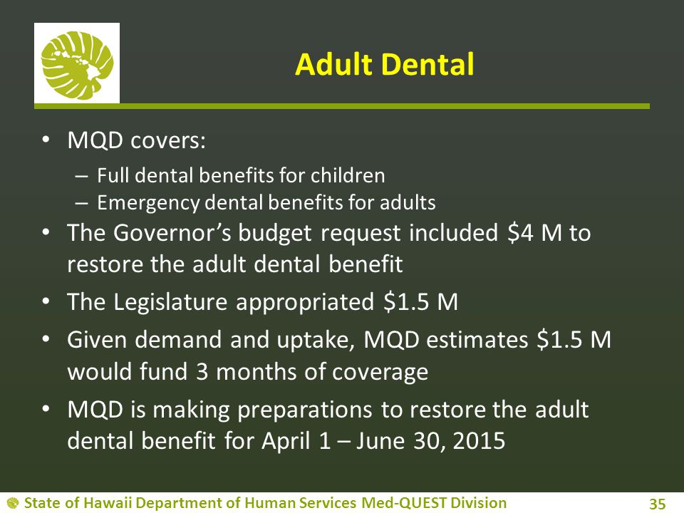 Adult Dental MQD covers: