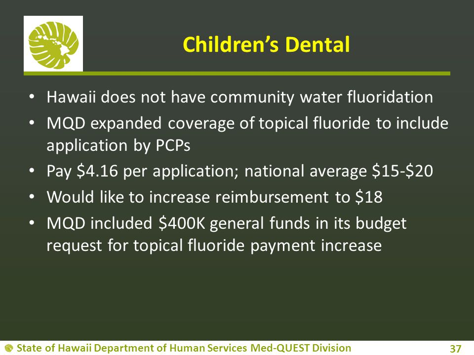 Children's Dental Hawaii does not have community water fluoridation