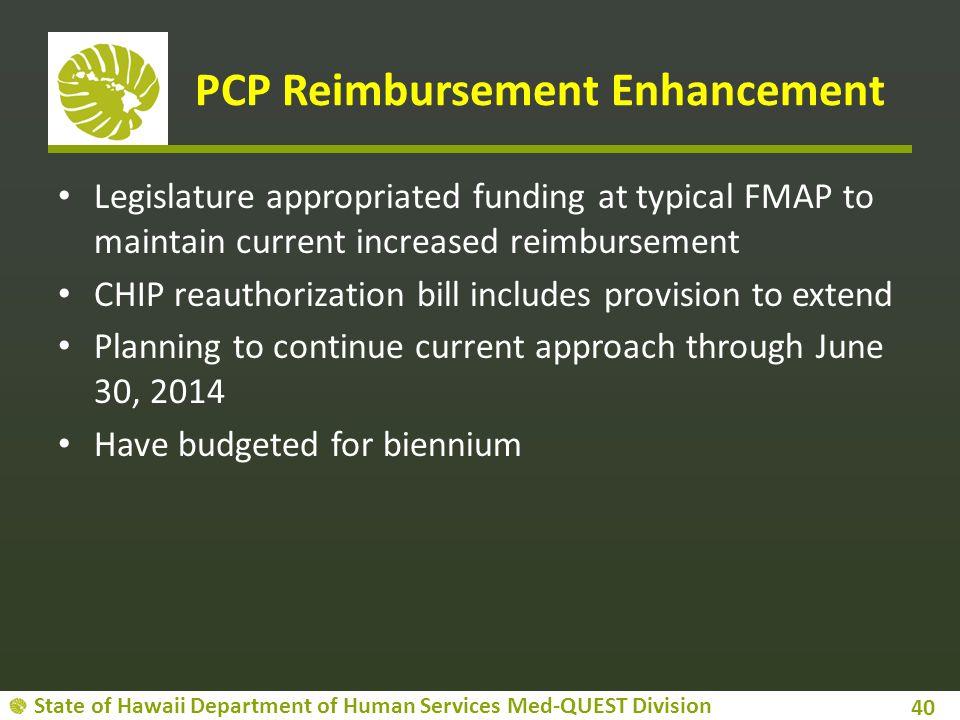 PCP Reimbursement Enhancement