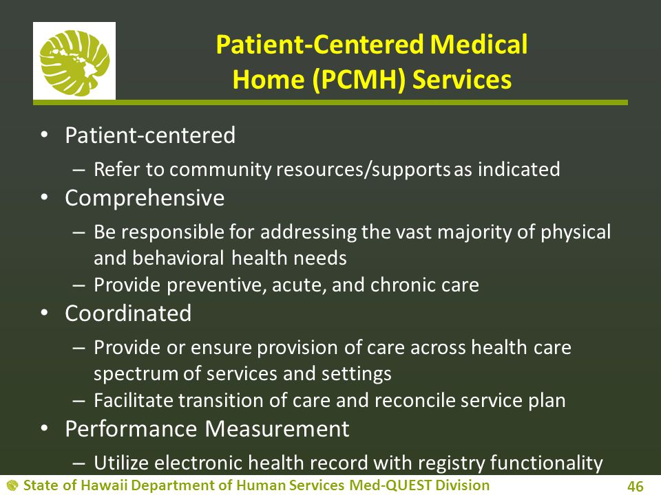 Patient-Centered Medical Home (PCMH) Services