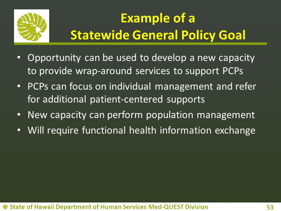 Example of a Statewide General Policy Goal