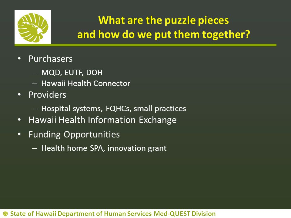 What are the puzzle pieces and how do we put them together