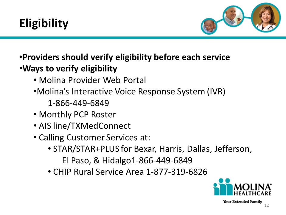 Eligibility Providers should verify eligibility before each service