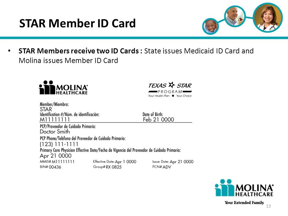 Headline Goes Here STAR Member ID Card. STAR Members receive two ID Cards : State issues Medicaid ID Card and Molina issues Member ID Card.