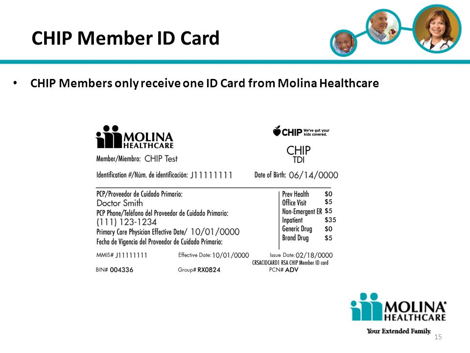Headline Goes Here CHIP Member ID Card. CHIP Members only receive one ID Card from Molina Healthcare.