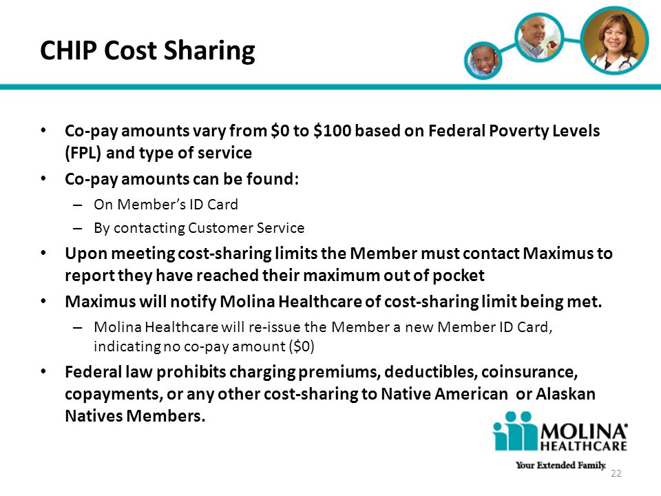 Headline Goes Here CHIP Cost Sharing. Co-pay amounts vary from $0 to $100 based on Federal Poverty Levels (FPL) and type of service.