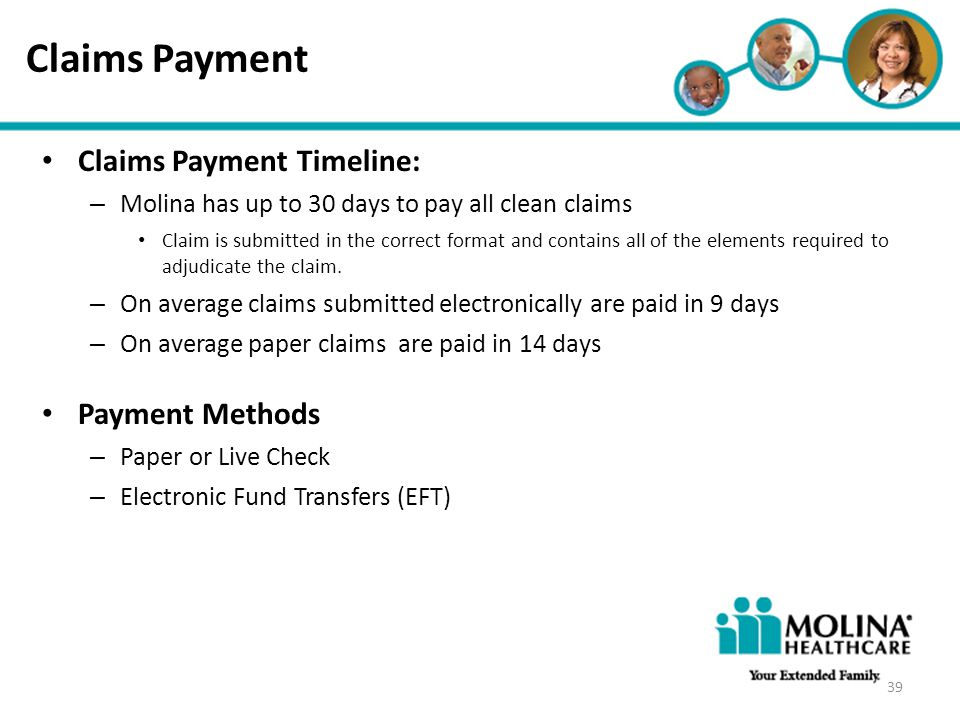 Claims Payment Claims Payment Timeline: Payment Methods