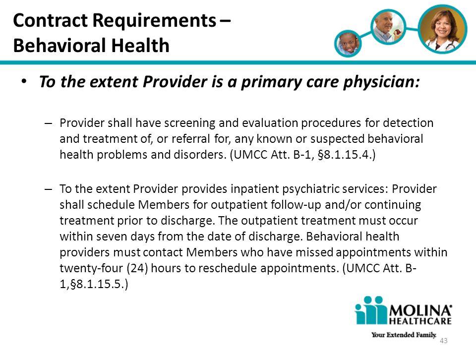 Contract Requirements – Behavioral Health