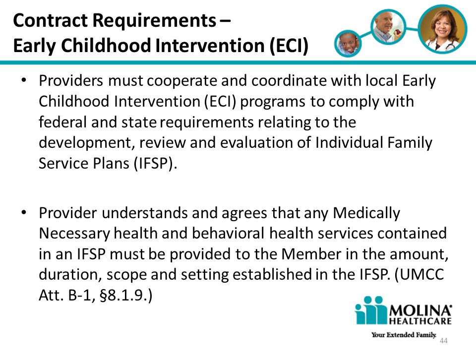 Contract Requirements – Early Childhood Intervention (ECI)