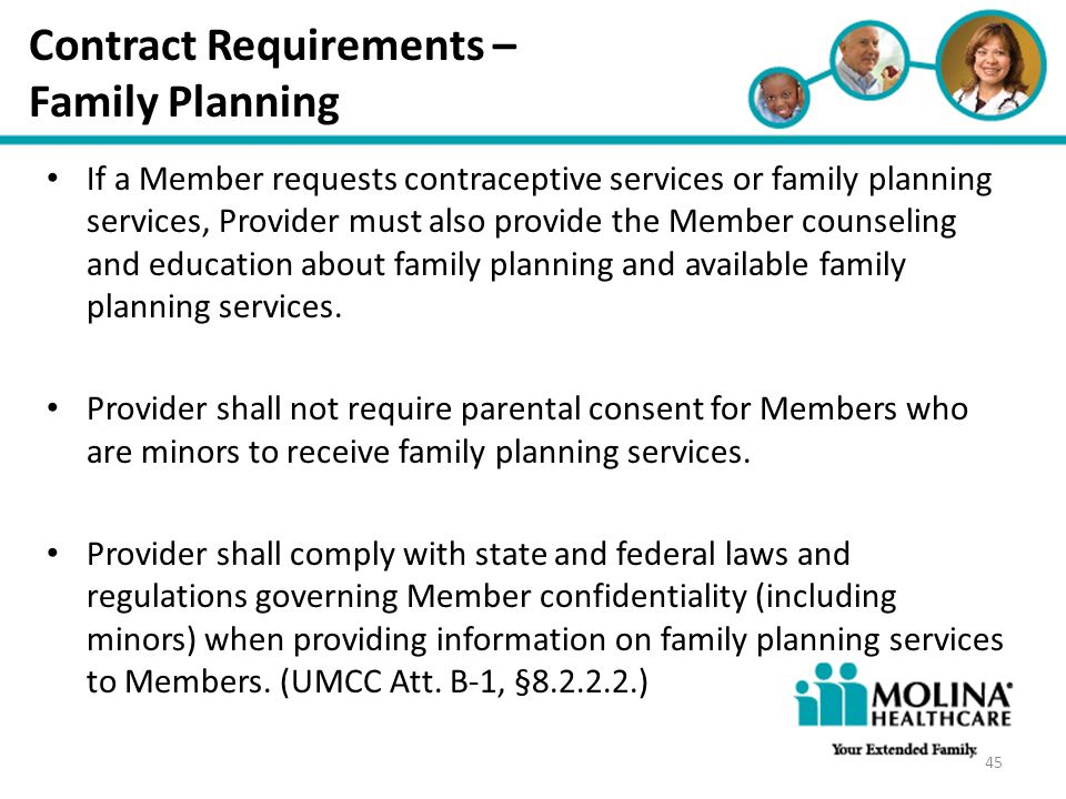 Contract Requirements – Family Planning