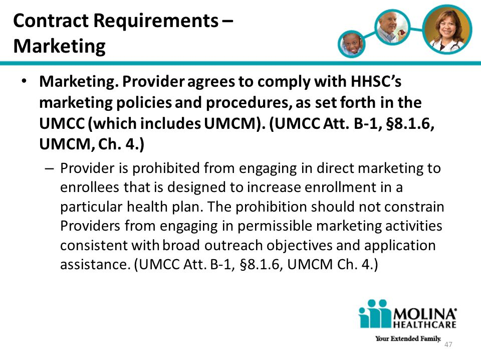 Contract Requirements – Marketing