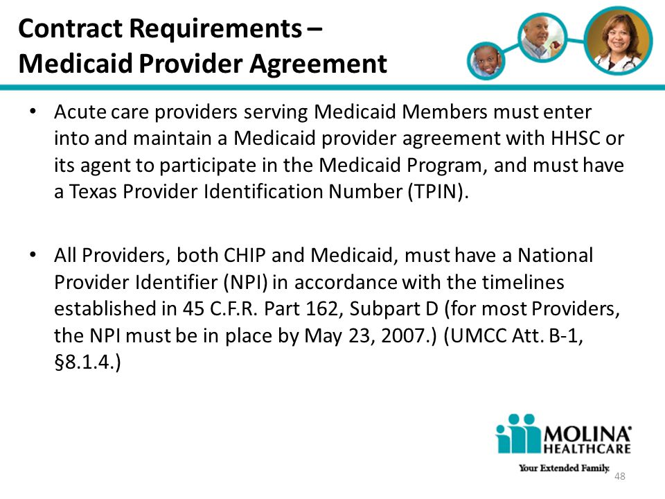 Contract Requirements – Medicaid Provider Agreement