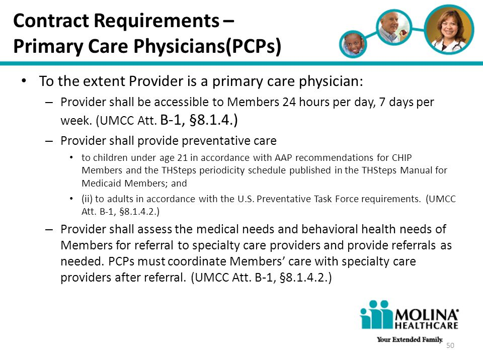 Contract Requirements – Primary Care Physicians(PCPs)