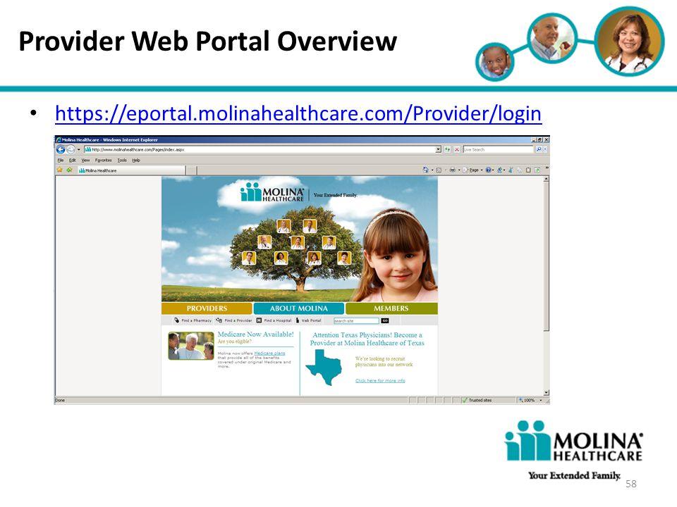 Provider Web Portal Overview