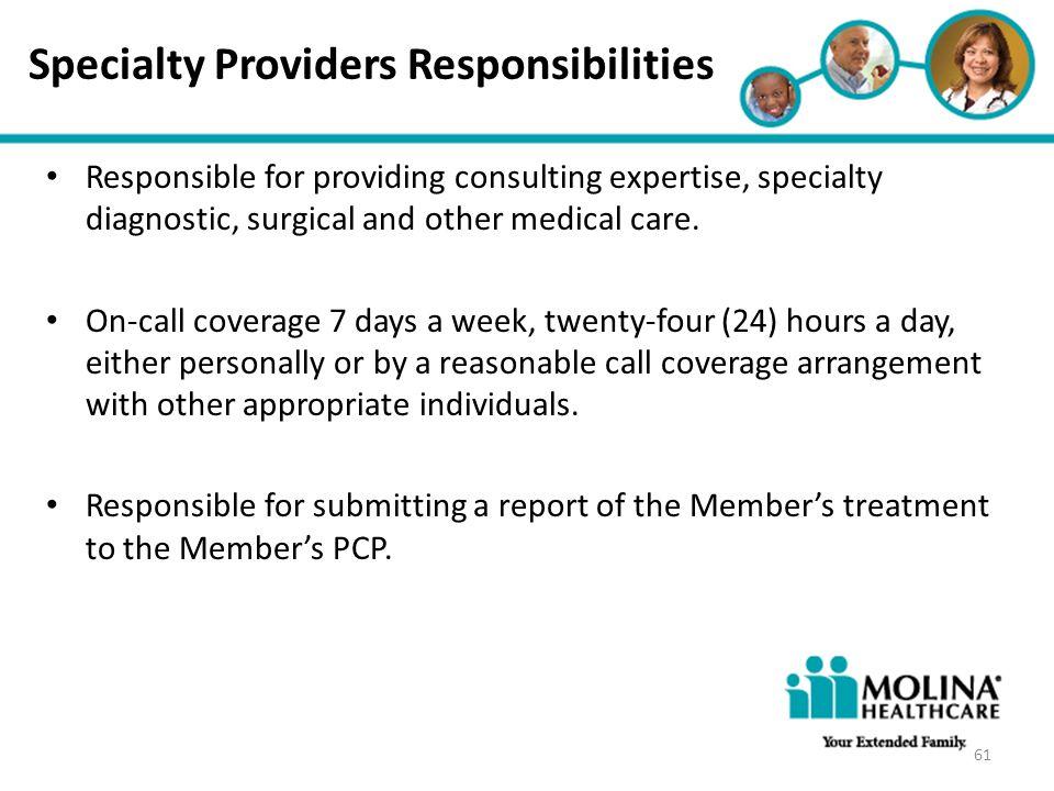 Specialty Providers Responsibilities