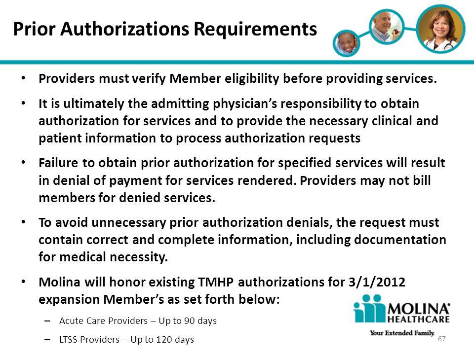 Prior Authorizations Requirements