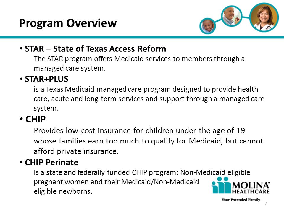 Program Overview CHIP STAR – State of Texas Access Reform STAR+PLUS