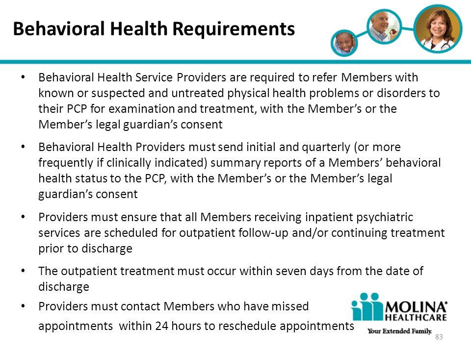 Behavioral Health Requirements