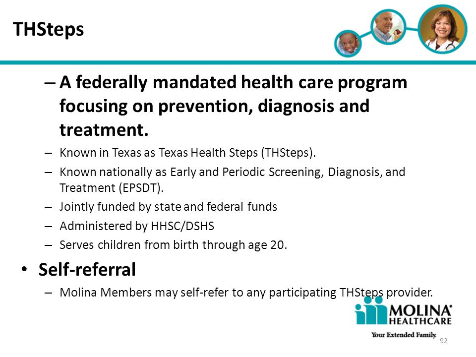 THSteps Headline Goes Here. A federally mandated health care program focusing on prevention, diagnosis and treatment.