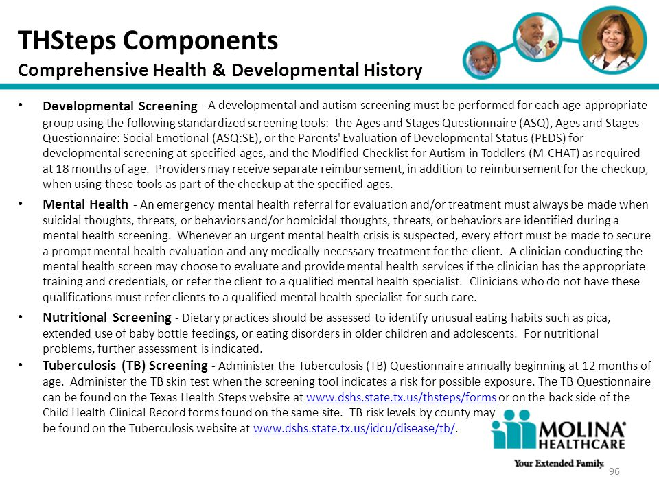 THSteps Components Comprehensive Health & Developmental History