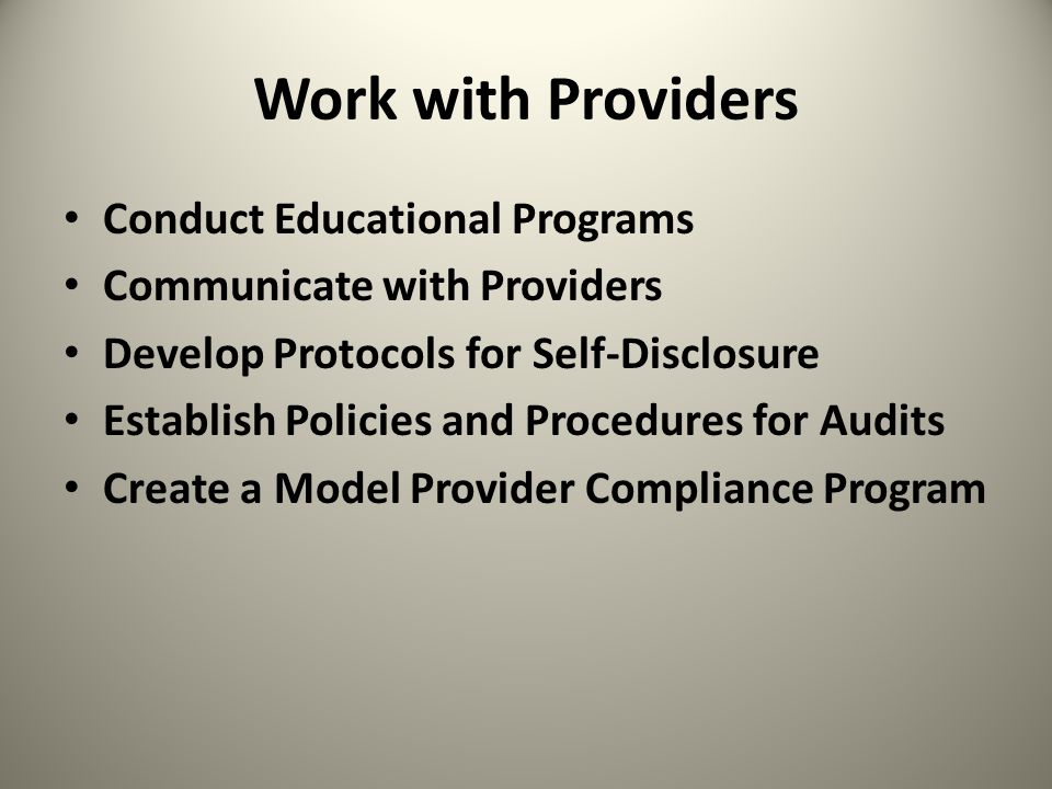 Work with Providers Conduct Educational Programs