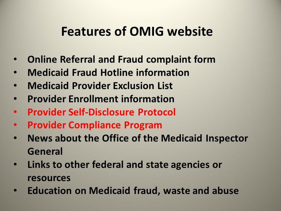 Features of OMIG website