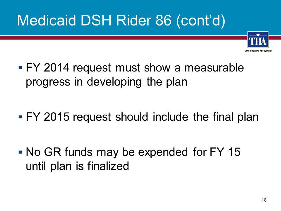 Medicaid DSH Rider 86 (cont'd)